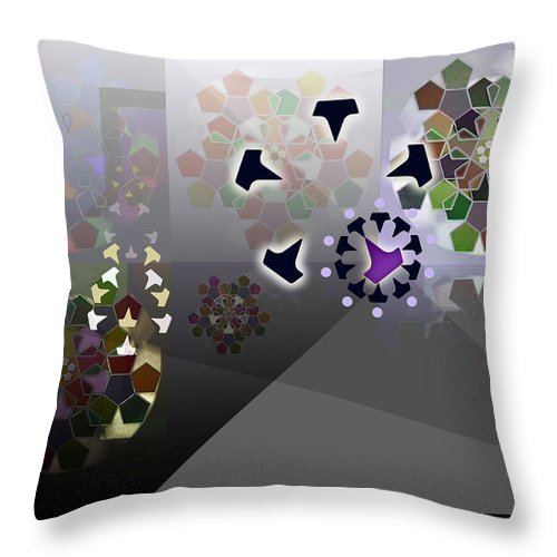 Geometric Abstract Throw Pillow featuring the digital art 5x5 Synthesis 1 by Warren Furman