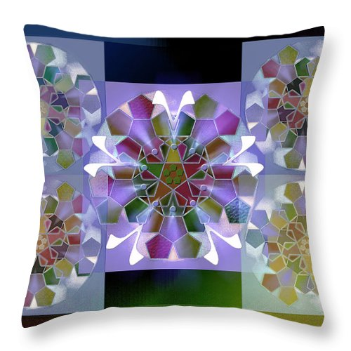 Geometric Abstract Throw Pillow featuring the digital art 5x5 Synthesis 10 by Warren Furman