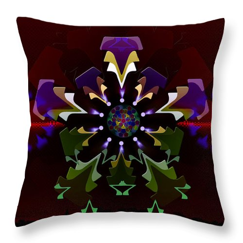 Geometric Abstract Throw Pillow featuring the digital art 5x5 Synthesis 8 by Warren Furman