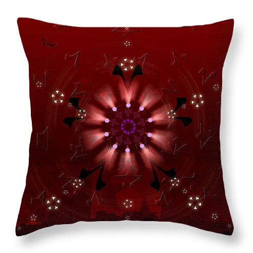 Geometric Abstract Throw Pillow featuring the digital art 5x5 Synthesis 9 by Warren Furman