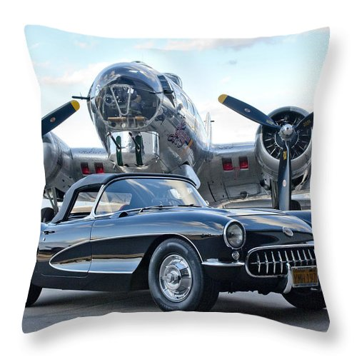 1957 Chevrolet Corvette Throw Pillow featuring the photograph 1957 Chevrolet Corvette by Jill Reger