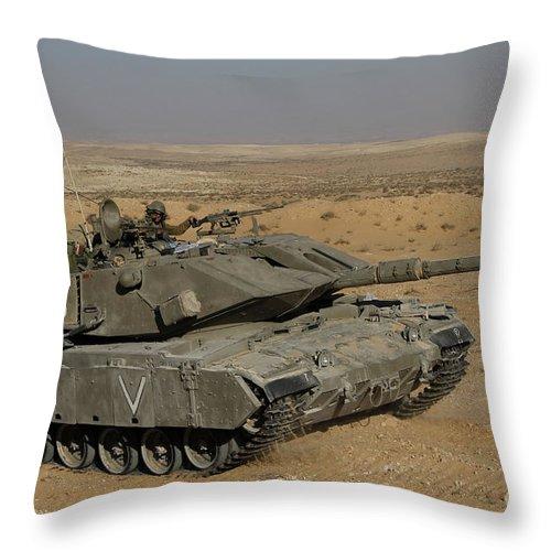 Battletank Throw Pillow featuring the photograph An Israel Defense Force Magach 7 Main by Ofer Zidon