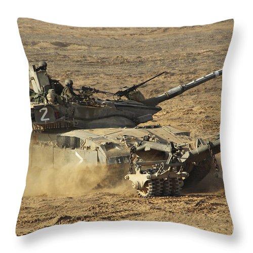 Battletank Throw Pillow featuring the photograph An Israel Defense Force Merkava Mark II by Ofer Zidon