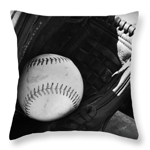 Kelly Hazel Throw Pillow featuring the photograph Baseball by Kelly Hazel