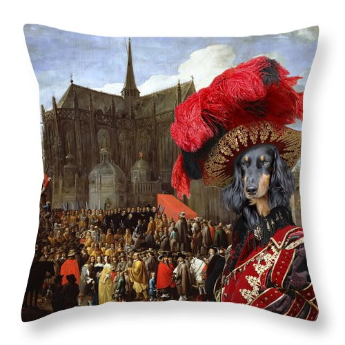 Dachshund Throw Pillow featuring the painting Dachshund Art Canvas Print by Sandra Sij