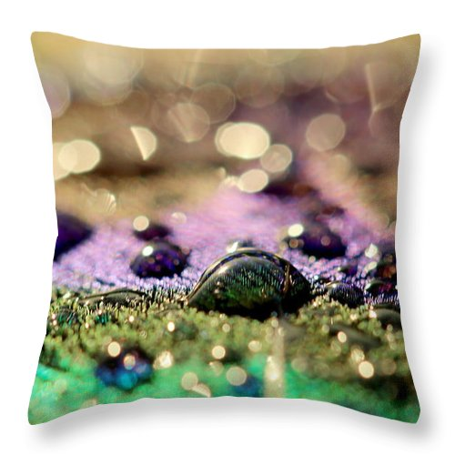 Peacock Feather Throw Pillow featuring the photograph Drops by Heike Hultsch