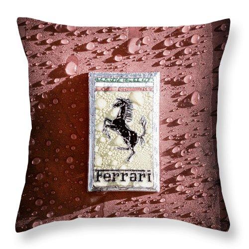 Ferrari Emblem Throw Pillow featuring the photograph Ferrari Emblem by Jill Reger