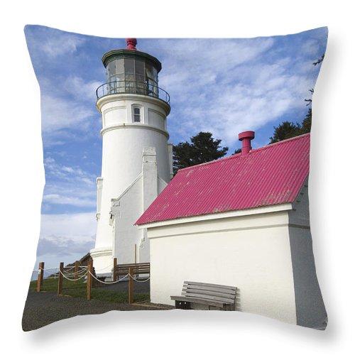 Heceta Head Lighthouse Throw Pillow featuring the photograph Heceta Head Lighthouse by John Shaw
