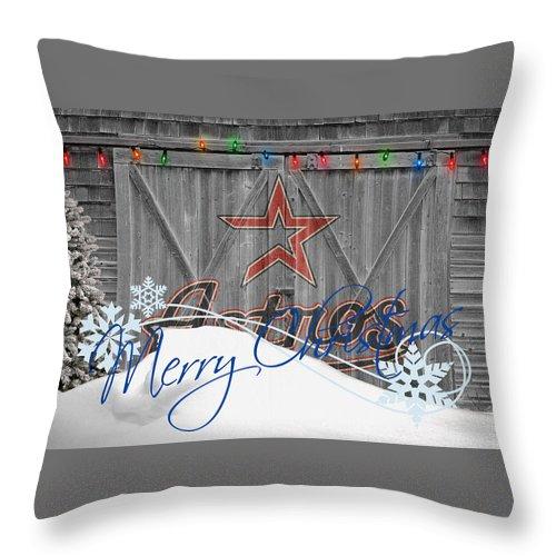 Astros Throw Pillow featuring the photograph Houston Astros by Joe Hamilton