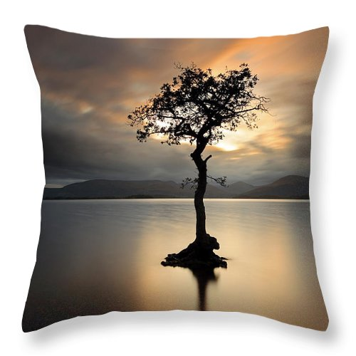 Loch Lomond Throw Pillow featuring the photograph Loch Lomond Sunset by Grant Glendinning
