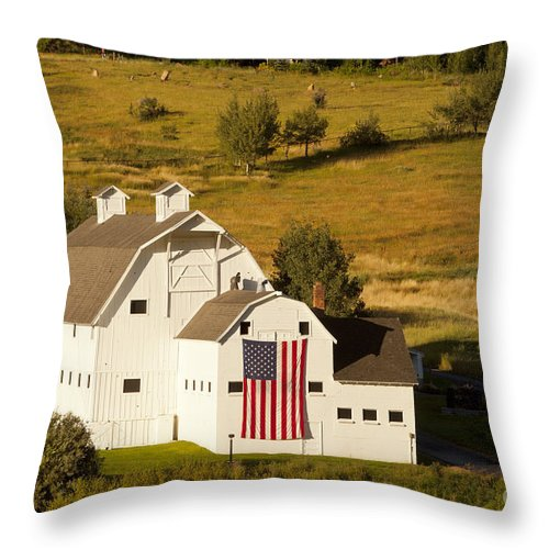 White Throw Pillow featuring the photograph Park City Barn by Brian Jannsen