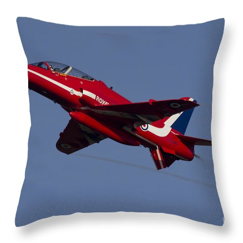 Air Show Throw Pillow featuring the digital art Red Arrows by J Biggadike