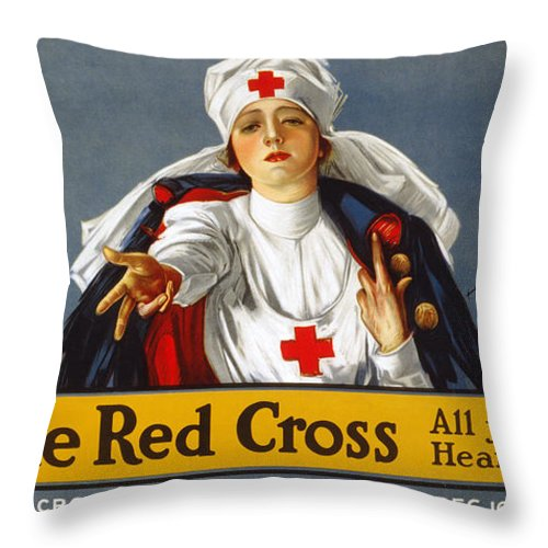 1917 Throw Pillow featuring the photograph Red Cross Poster, 1917 by Granger