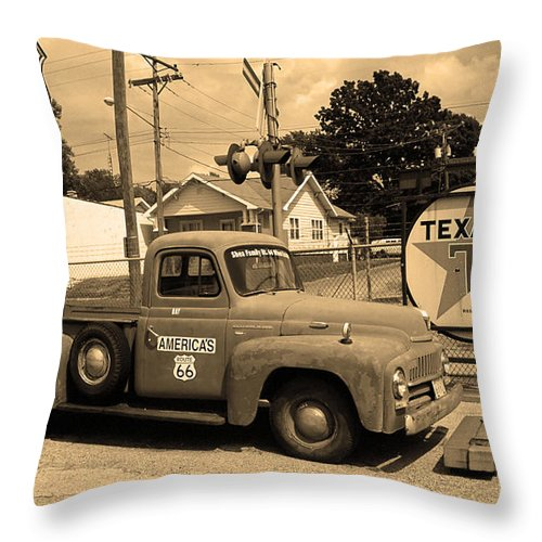 66 Throw Pillow featuring the photograph Route 66 - Shea's Gas Station by Frank Romeo