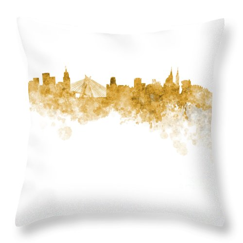 Watercolor; Background; Abstract; Paint; Color; Splash; Colorful; Art; Texture; Grunge; Paper; Ink; Illustration; Wallpaper; Bright; Vintage; Splatter; Creativity; Brazil; Sao Paulo; Southamerica; Architecture; Cityscape; Europe; Landmark; Monuments; Panoramic; Skyline Throw Pillow featuring the painting Sao Paulo Skyline In Watercolor On White Background by Pablo Romero