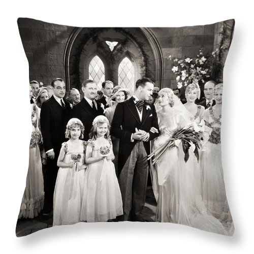 1920s Throw Pillow featuring the photograph Silent Film Still: Wedding by Granger