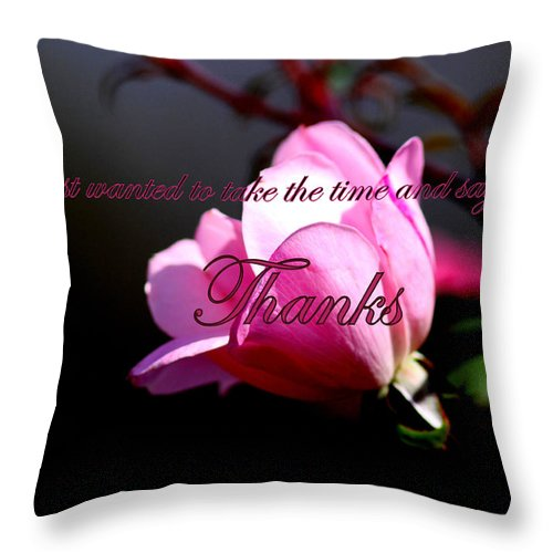 Pink Throw Pillow featuring the photograph Thank You by Travis Truelove