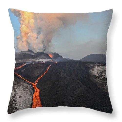 Feb0514 Throw Pillow featuring the photograph Tolbachik Volcano Erupting Kamchatka by Sergey Gorshkov