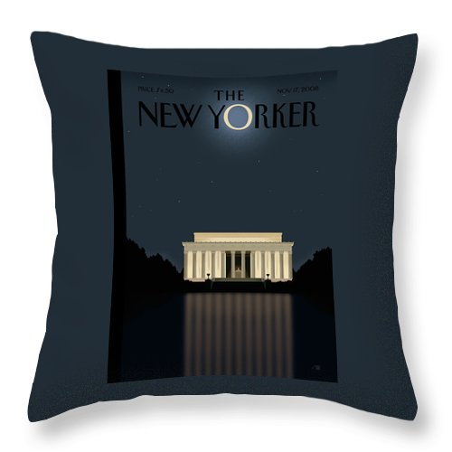 Lincoln Throw Pillow featuring the painting New Yorker November 17th, 2008 by Bob Staake
