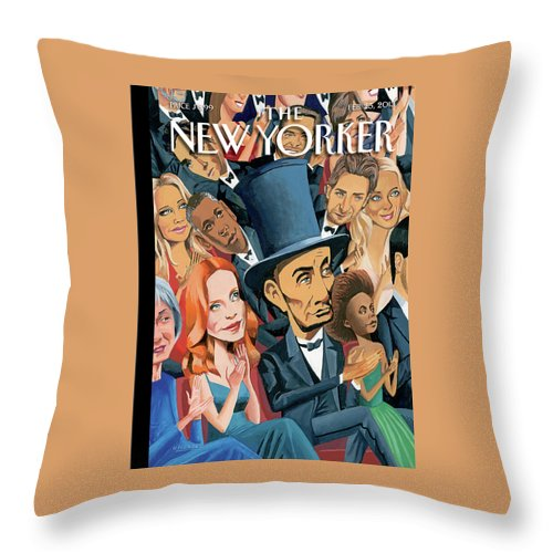 Oscars Throw Pillow featuring the painting New Yorker February 25th, 2013 by Mark Ulriksen