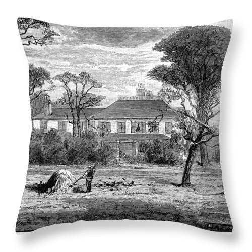 18th Century Throw Pillow featuring the photograph Washington: Headquarters by Granger