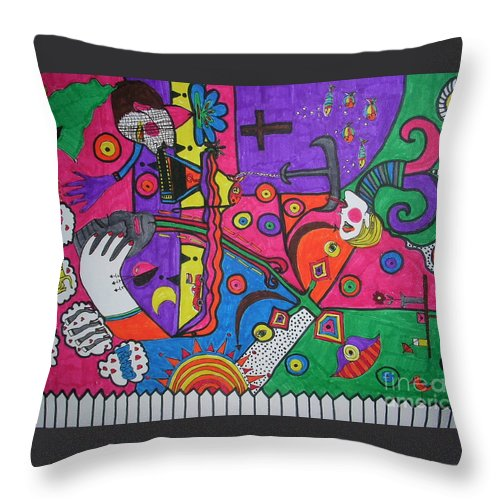 60s Throw Pillow featuring the drawing 60s Dream by Rosana Modugno