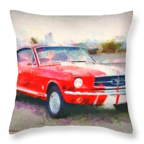 Mustang Throw Pillow featuring the painting 66 Mustang Gt 350 by Lynne Jenkins