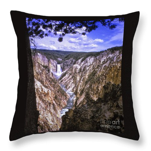 Print Throw Pillow featuring the photograph 661 Sl Yellowstone Canyon by Chris Berry