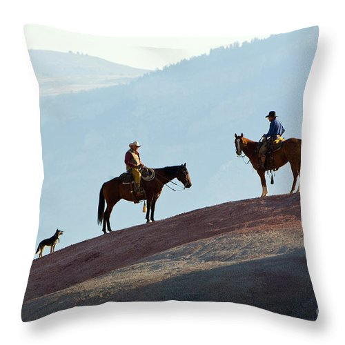 Cowboy Throw Pillow featuring the photograph Cowboys by John Shaw