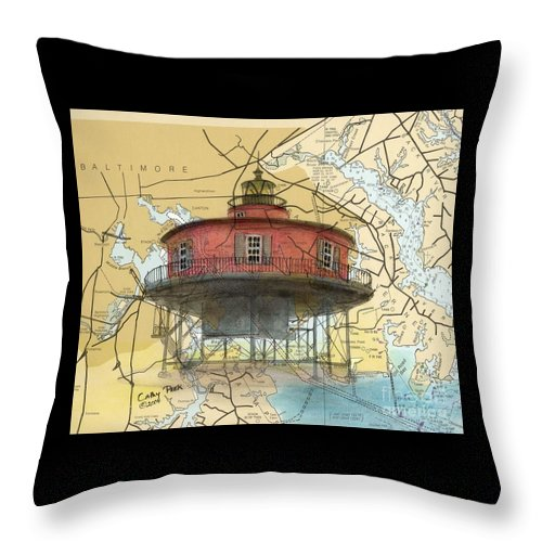 Seven Throw Pillow featuring the painting 7 Ft Knoll Lighthouse Md Nautical Chart Map Art Cathy Peek by Cathy Peek
