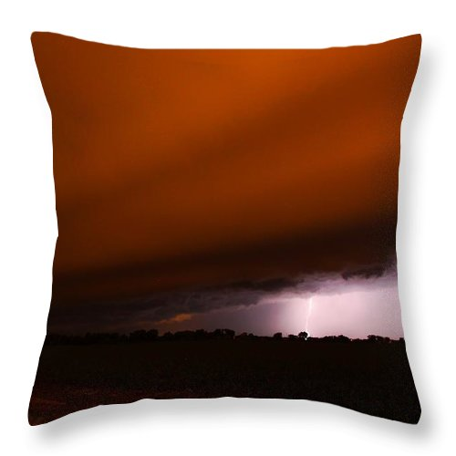 Stormscape Throw Pillow featuring the photograph Late Night Nebraska Shelf Cloud by NebraskaSC