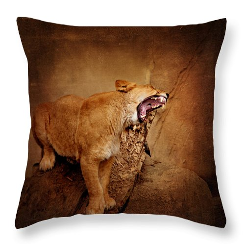 King Of Beasts Throw Pillow featuring the mixed media Lion by Heike Hultsch