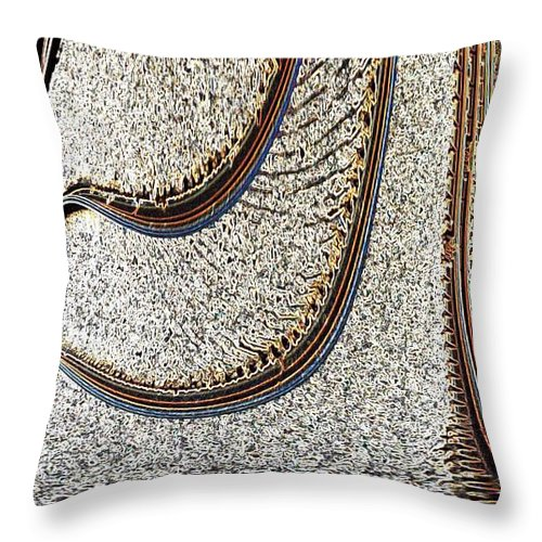 Macro Throw Pillow featuring the photograph Crooked Rail Tracks by Dave Byrne