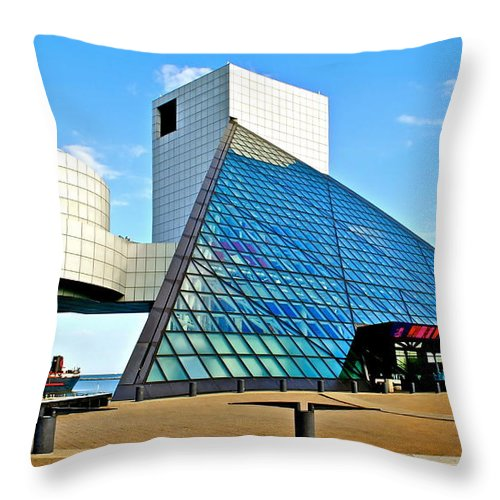 Rock Throw Pillow featuring the photograph Rock and Roll Hall of Fame by Frozen in Time Fine Art Photography