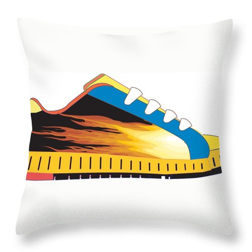 Throw Pillow featuring the drawing Shoe by Keith Spence