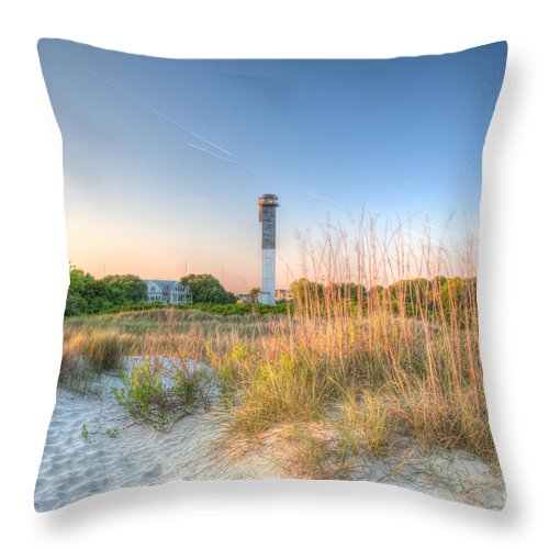 Lighthouse Throw Pillow featuring the photograph Sandy Shore by Dale Powell