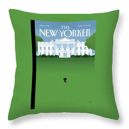 Obama Throw Pillow featuring the painting New Yorker April 27th, 2009 by Bob Staake