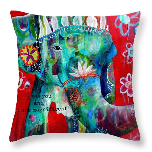 Elephant Throw Pillow featuring the photograph I see you by Tracy Verdugo