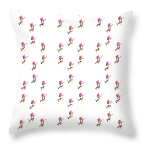 Andee Design Magnolia Throw Pillow featuring the photograph 72 Dancing Pink Magnolias Panel by Andee Design