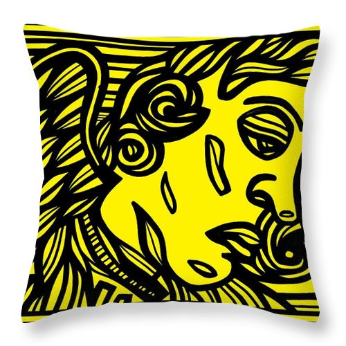 Yellow Throw Pillow featuring the drawing Dusseault Angel Cherub Yellow Black by Eddie Alfaro