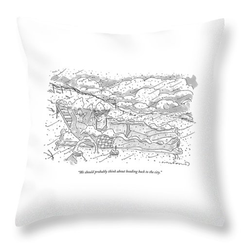 Seasons Winter Problems Vacations Leisure  (couple In Their Bathing Suits Throw Pillow featuring the drawing We Should Probably Think About Heading Back by Michael Crawford
