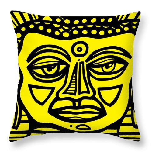 Yellow Throw Pillow featuring the drawing Jakubek Buddha Yellow Black by Eddie Alfaro