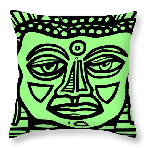 Green Throw Pillow featuring the drawing Cleark Buddha Green Black by Eddie Alfaro