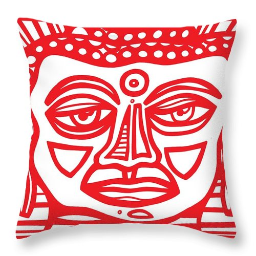 Red Throw Pillow featuring the drawing Barbot Buddha Red White by Eddie Alfaro
