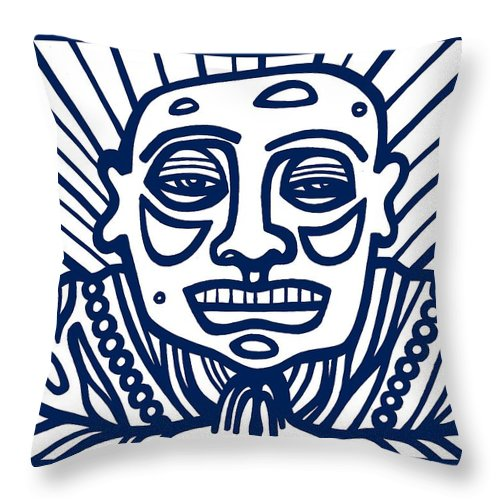 Blue Throw Pillow featuring the drawing Frisby Buddha Blue White by Eddie Alfaro