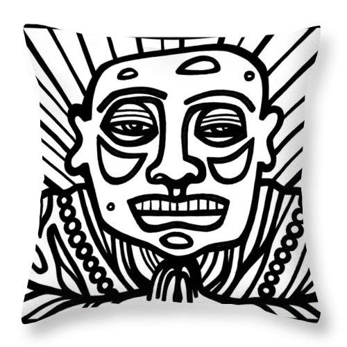 Black And White Throw Pillow featuring the drawing Lorton Buddha Black And White by Eddie Alfaro
