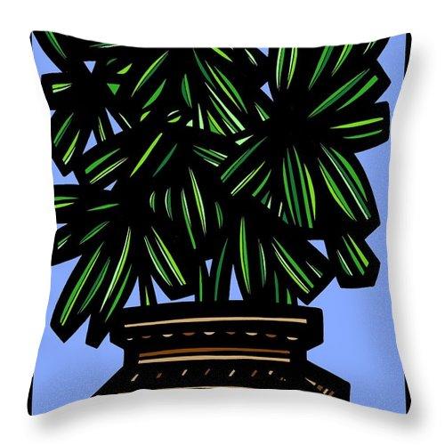 Green Throw Pillow featuring the drawing Kisiel Plant Leaves Green Black by Eddie Alfaro