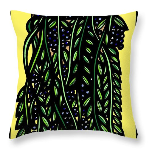 Blue Throw Pillow featuring the drawing Allison Plant Leaves Blue Green by Eddie Alfaro