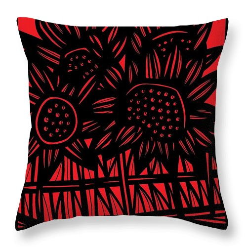 Red Throw Pillow featuring the drawing Giesbrecht Flowers Red Black by Eddie Alfaro