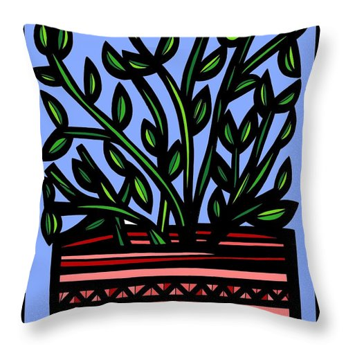 Red Throw Pillow featuring the drawing Sako Plant Leaves Red Green Blue by Eddie Alfaro